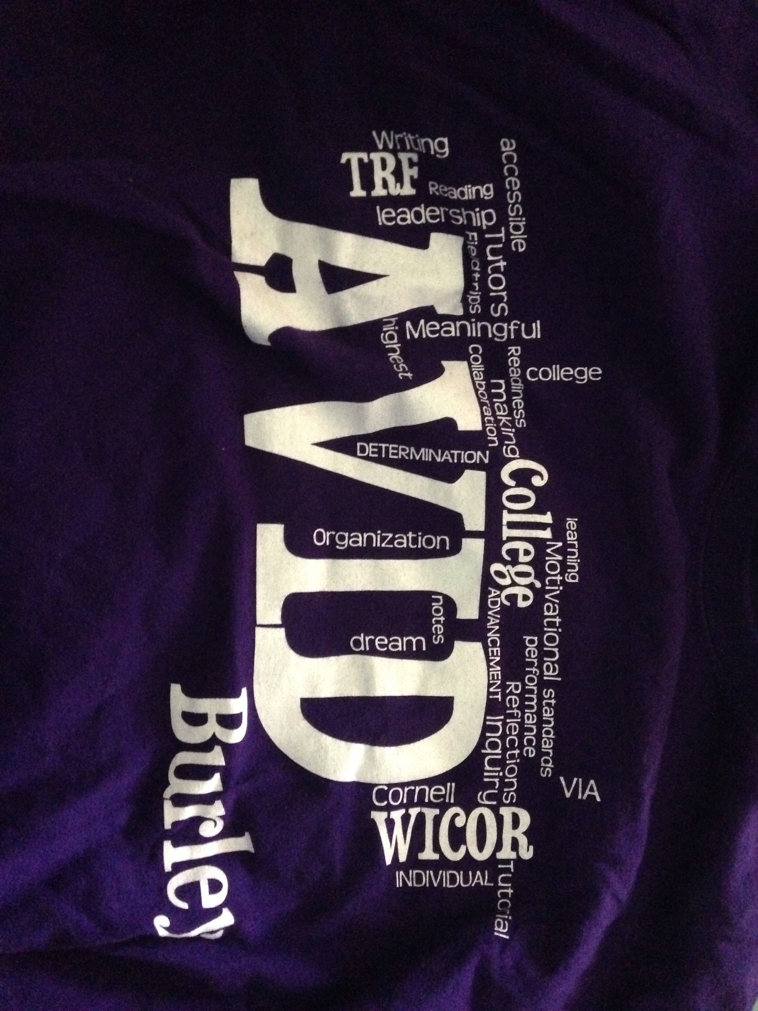 Burley Avid T Shirt Wordle Fundraiser Avid Resources And Ideas