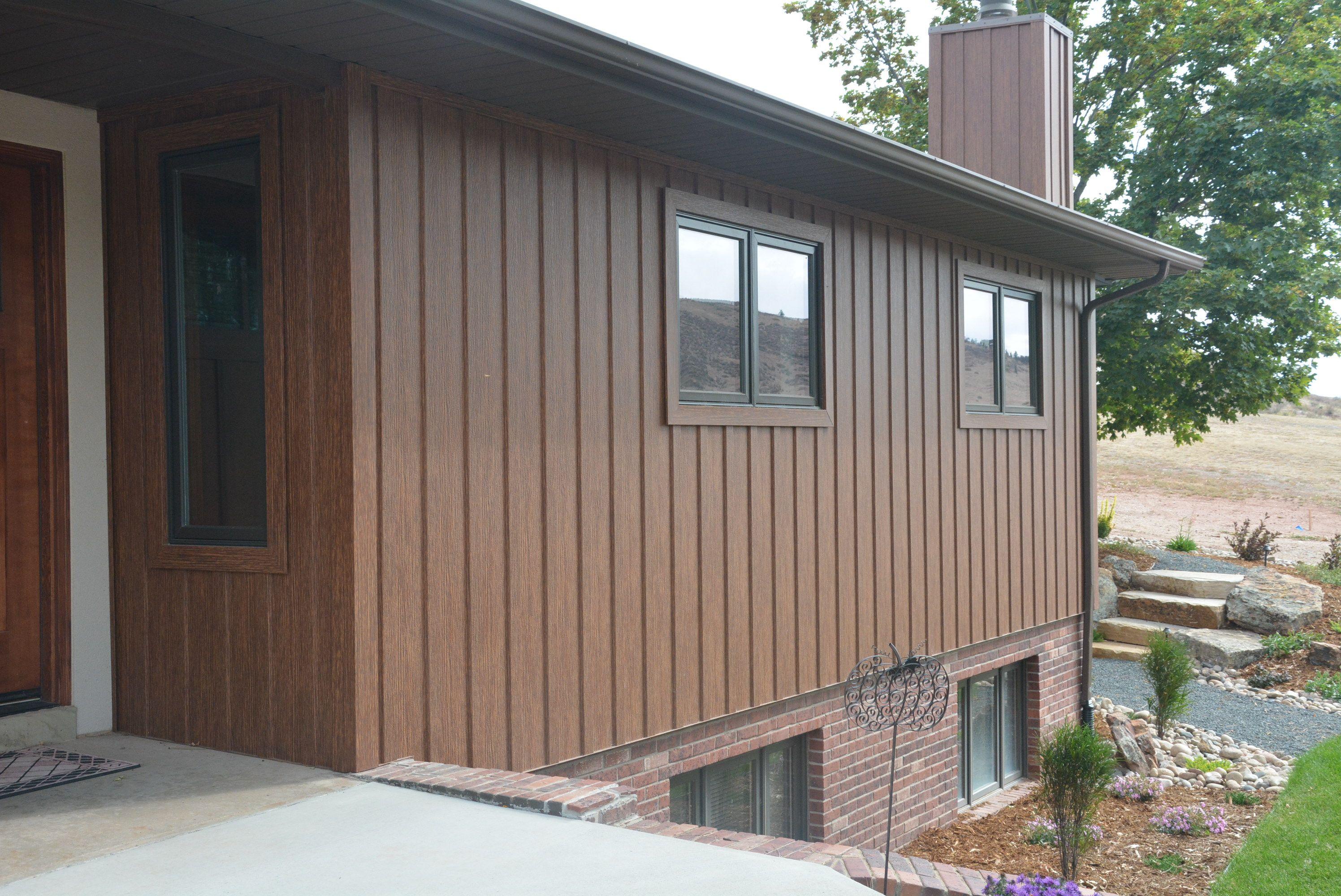 Wood Grain Steel Board And Batten Remodel Boardandbatten Trulog Cabin Maintencefree Diy Cabinlife Rustic Logcab Steel Siding Batten Board And Batten