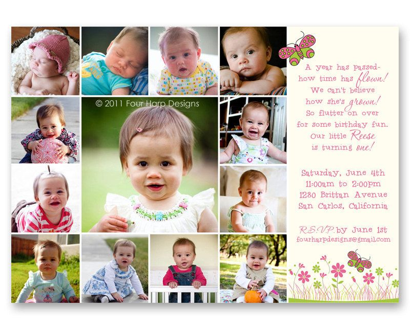 Butterfly Garden First Birthday Invitation - | Party Ideas ...