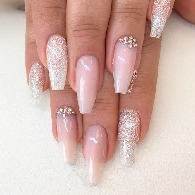 Coffin Nails Ideas For Enchanting Look Naildesignsjournal Com Pale Pink Nails Rhinestone Nails Coffin Shape Nails