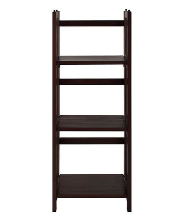 This Walnut Three Shelf Folding Stackable Bookcase Is Perfect Zulilyfinds