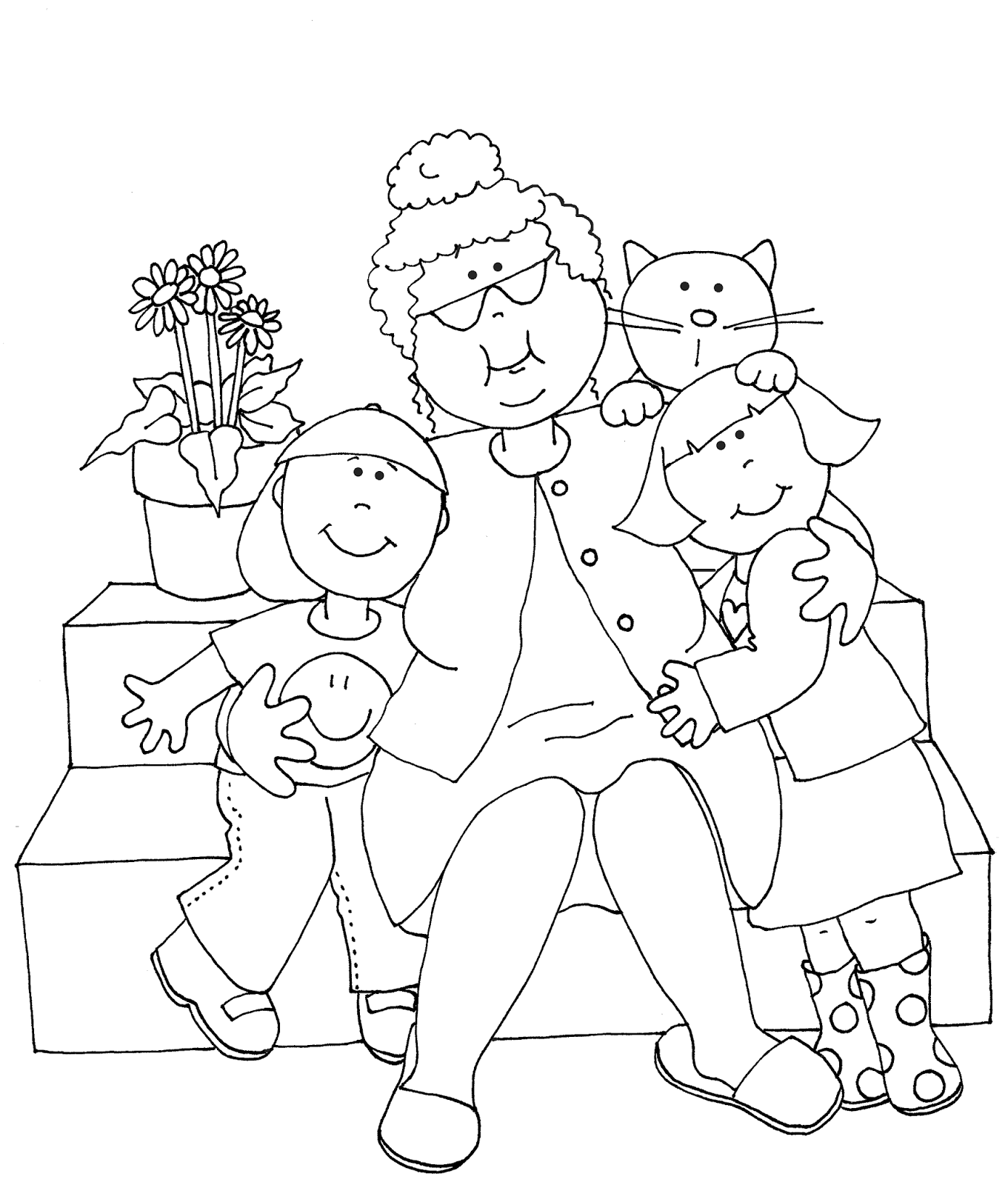 Free Dearie Dolls Digi Stamps As Requested Grammy With Boy And Girl Digi Stamps Coloring Pages Digital Stamps