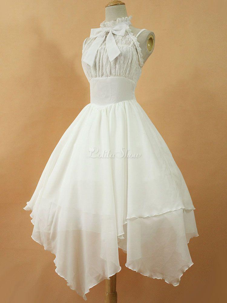 Lolitashow Gothic Lolita Dress JSK Dawn White Chiffon Lace Bow Broken Lace Up Irregular Lolita Jumper Skirt