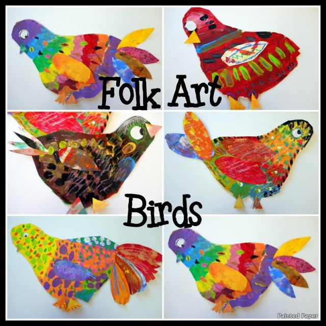 Folk art birds- (grade 3) paper, cutting, gluing, tempera paint & pastels. loverly. Would go really nice with a (revolving) tree mural!