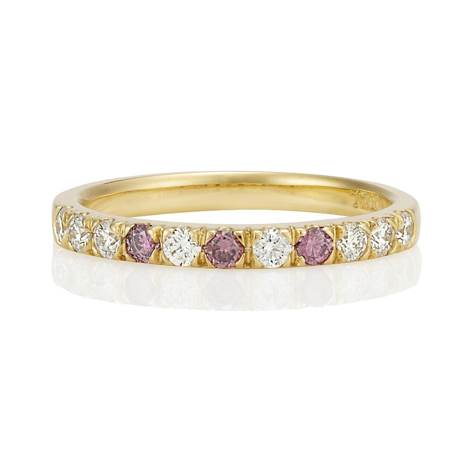 Caroline Handcrafted In 18ct Yellow Gold Featuring Natural Argyle Pink Diamonds And White Diamond Eternity Ring Jewelry Argyle Pink Diamonds