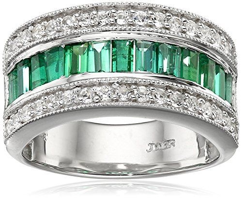 Sterling Silver Baguettes Created Emerald with Created White Sapphire Ring Size 7 * You can get more details by clicking on the image.