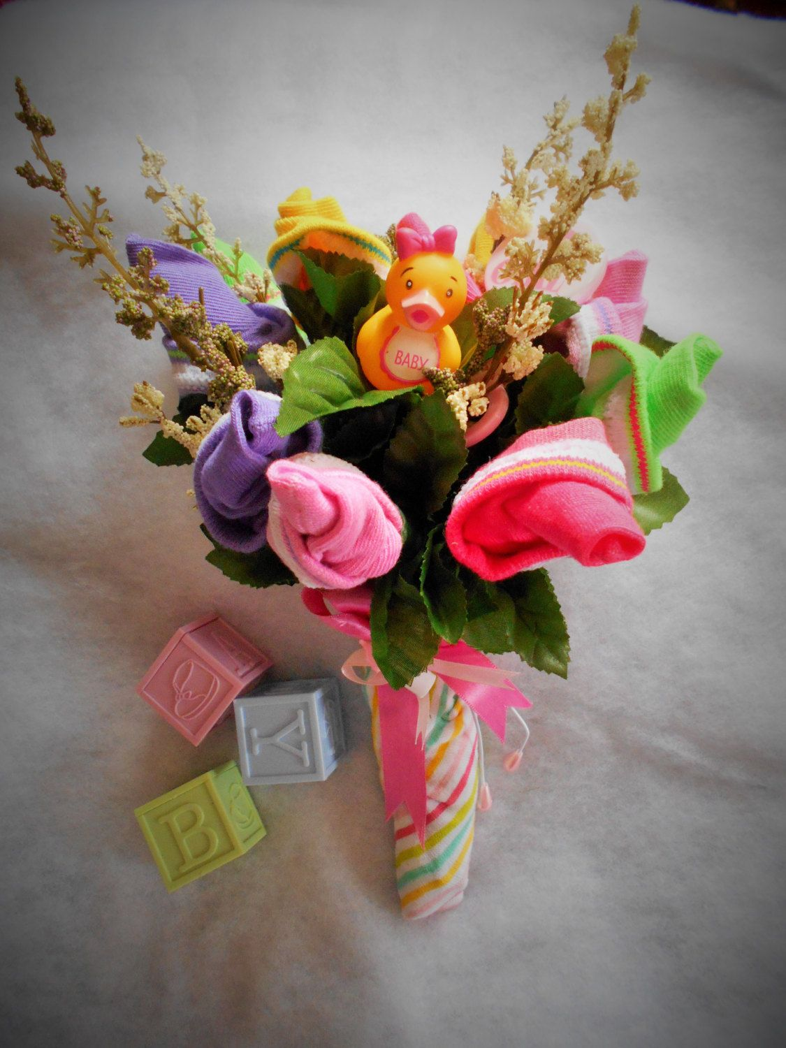 Baby Sock Multi Colored Bouquet By Giftsbynama On Etsy Check Out