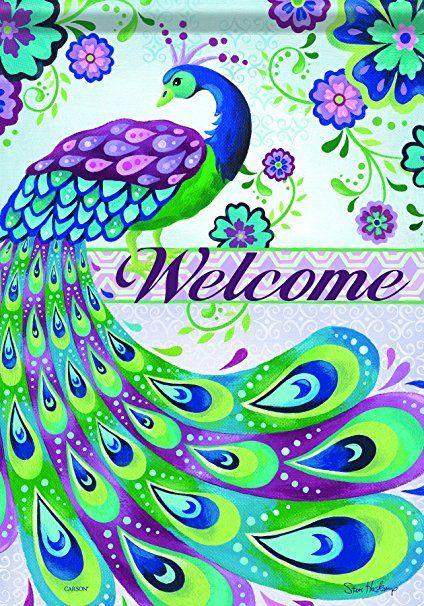 Carson Home Accents Flag Classic Garden Flag, Peacock Welcome Amazon - very popular!