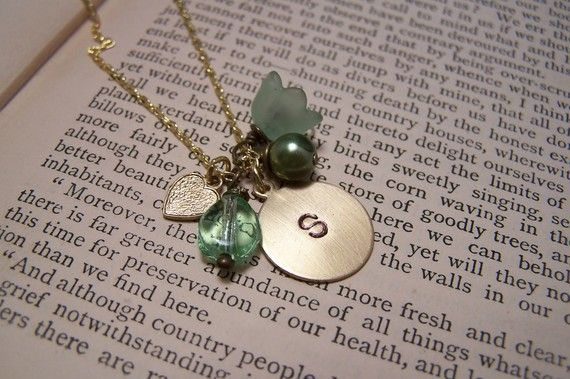 Custom++Initial+Charm+Necklace+in+Green+by+EmilinaBallerina,+$18.00