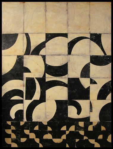 Distorted Grid painting - photocopy bold lettering from magazines in both negative and positive - get students to crop and arrange in grid - till they create an aesthetically pleasing rhythm - gule down - then reproduce as a painting - image inspiration - Graceann Warn Paintings: