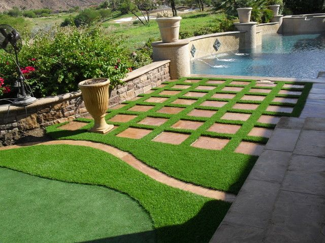 Artificial Grass Garden Designs artificial grass laid in square back garden amazonartificialgrassie Synthetic Grass Gridspaversstepping Stones