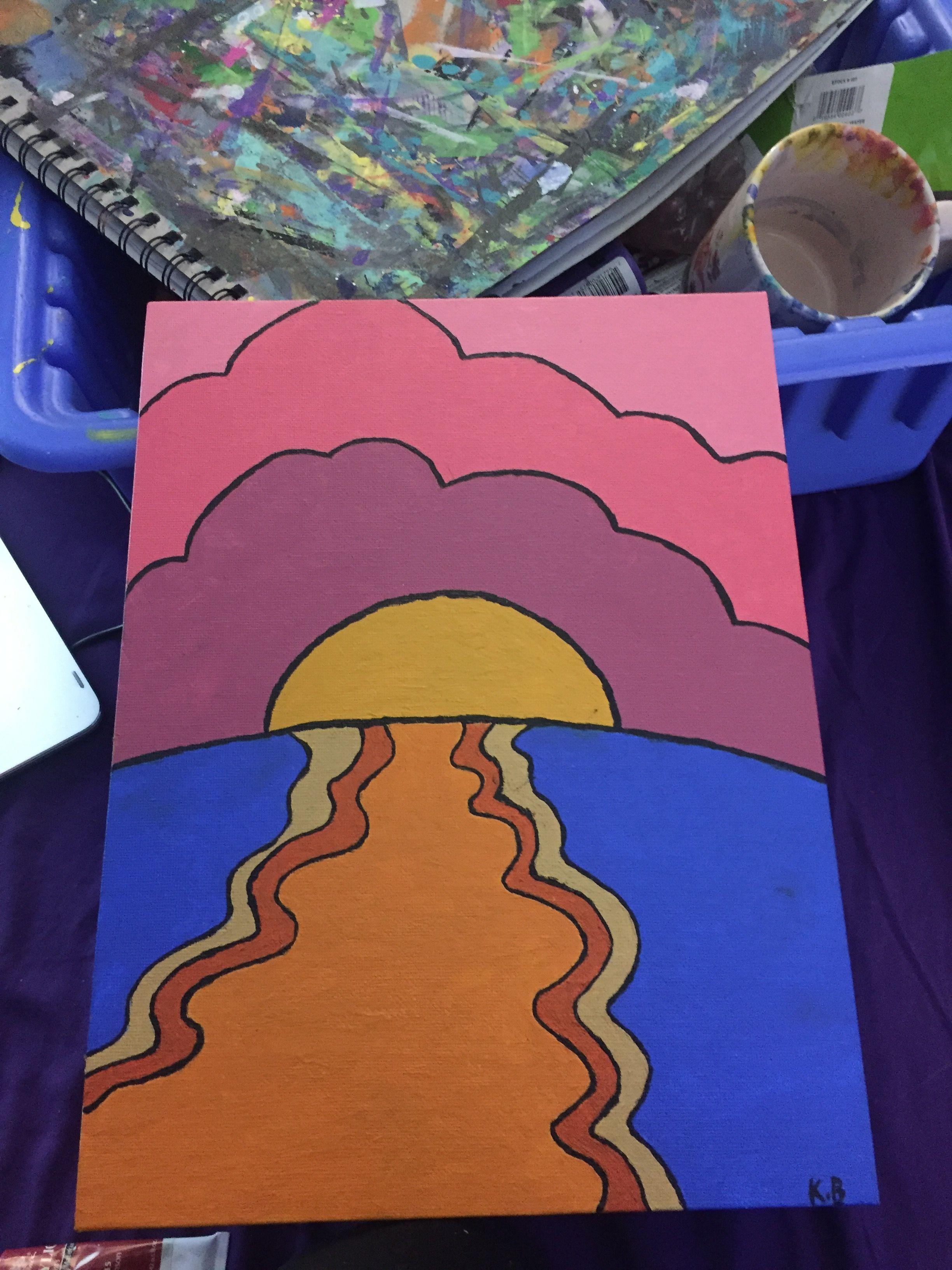 Sunset Painting Hippie Mini Canvas Art Diy