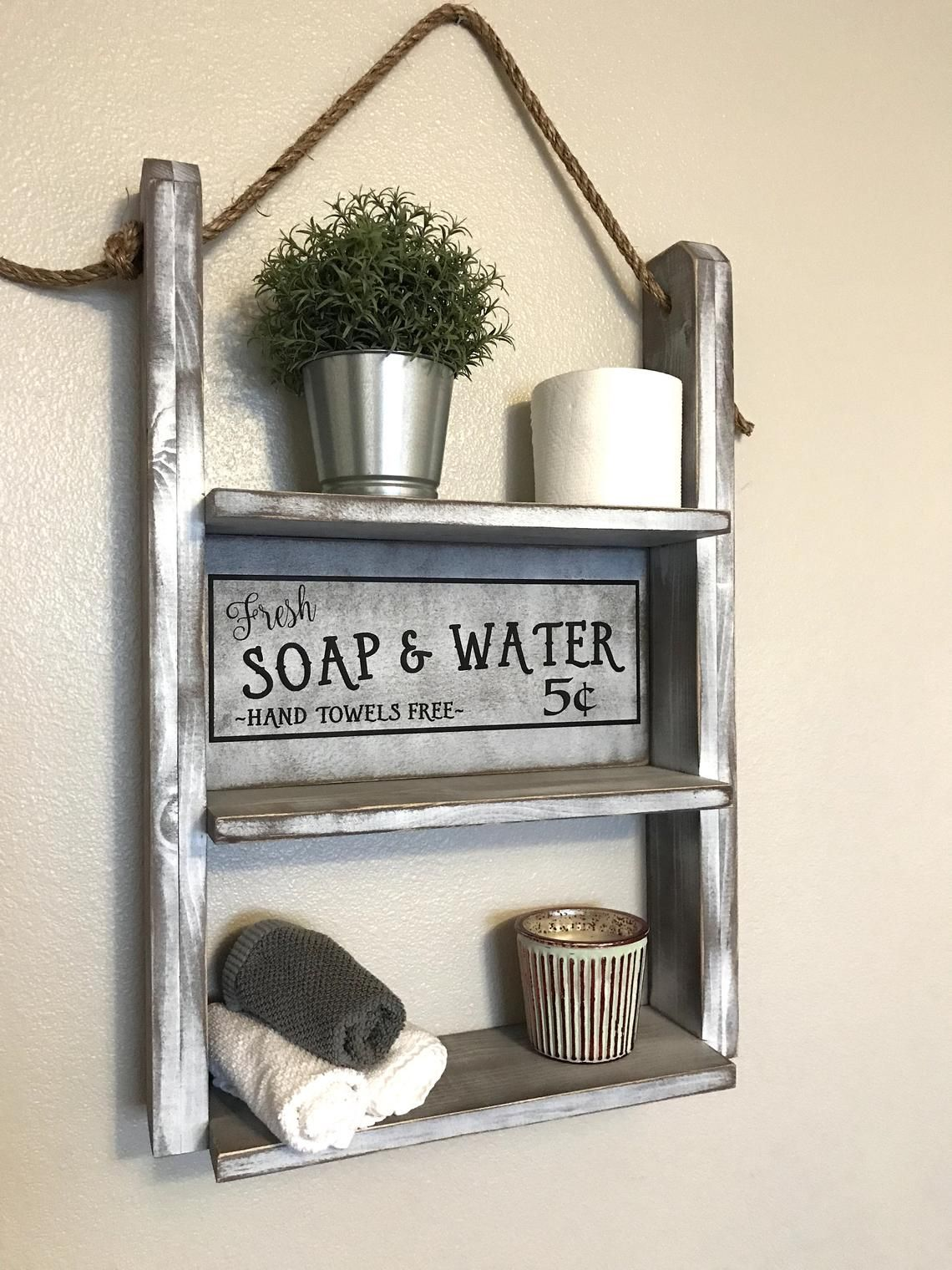 Rustic Wall Shelf Bathroom Storage #farmhousedecor #walldecor