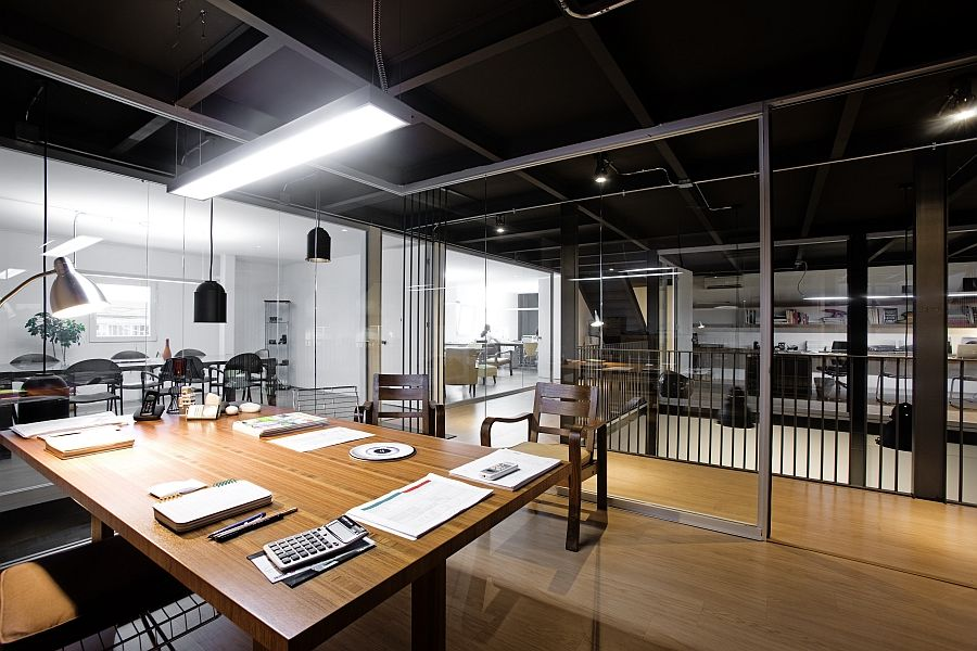 Gorgeous production studio and office space with indutrial for Office design productivity research