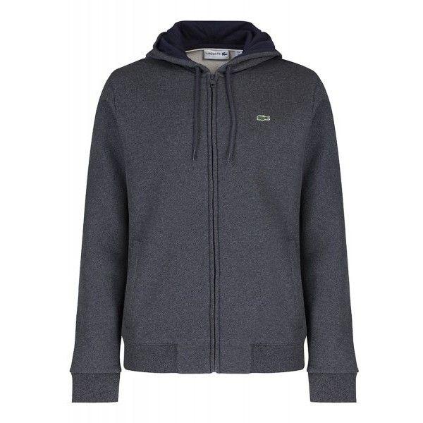 Lacoste Full Zip Fleece Hoody - Grey Marl