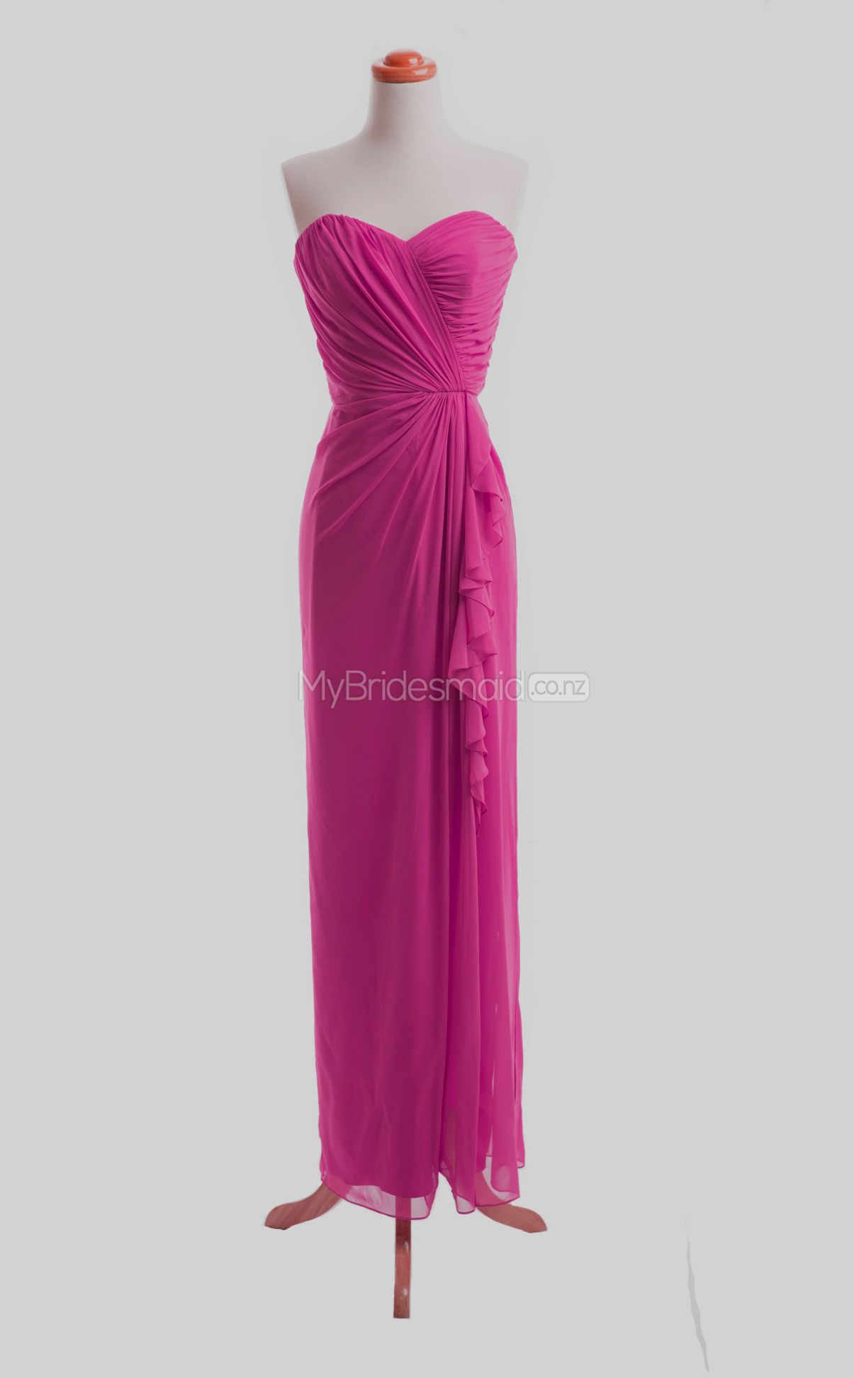 Lovely Fuchsia A-Line Sweetheart Chiffon Long Bridesmaid Dresses ...