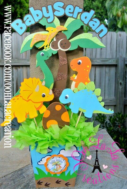 dinosaur theme centerpiece  dinosaur party decor, Baby shower invitation