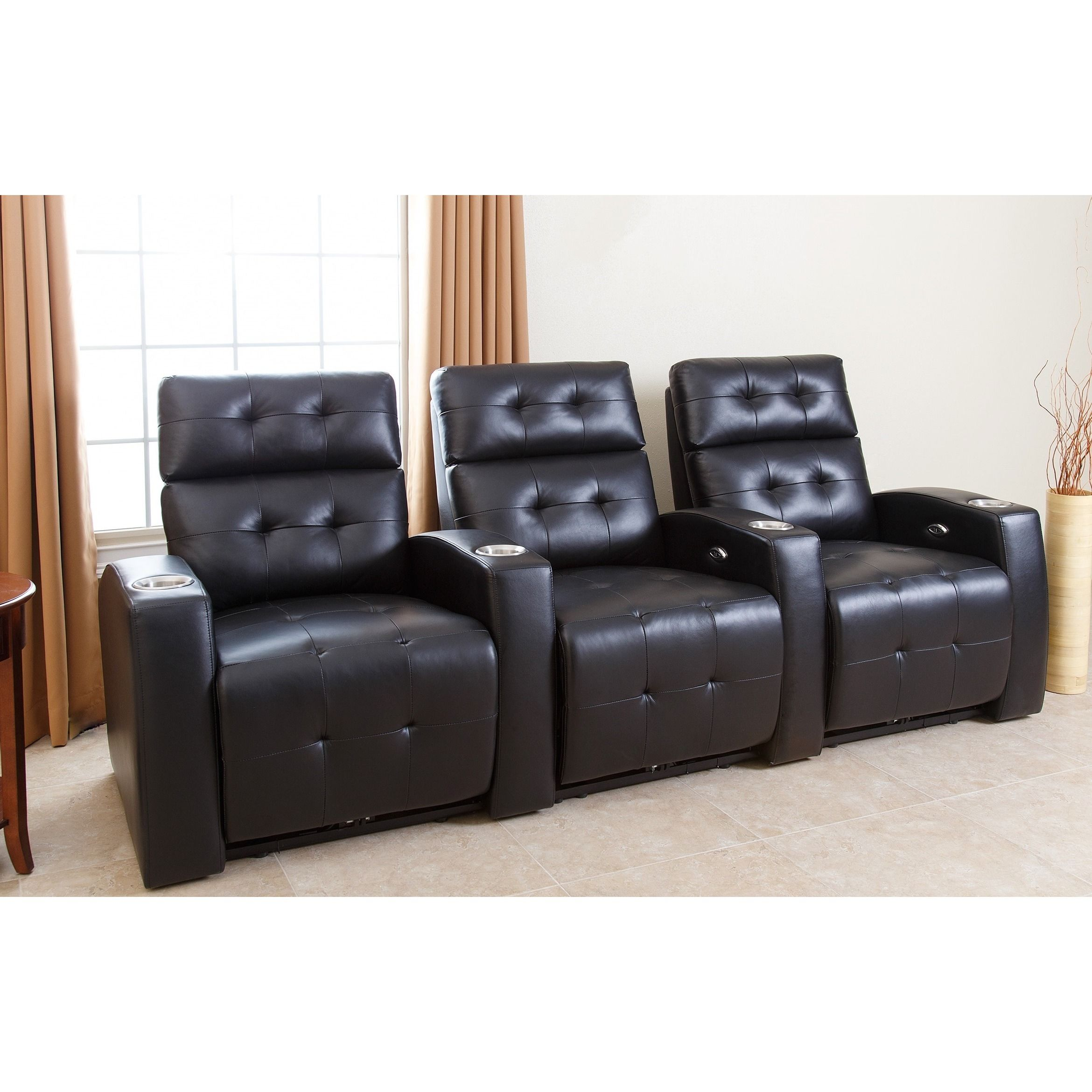 Andria Top Grain Leather Media Recliners Living Room Set Black Recliner By Abbyson