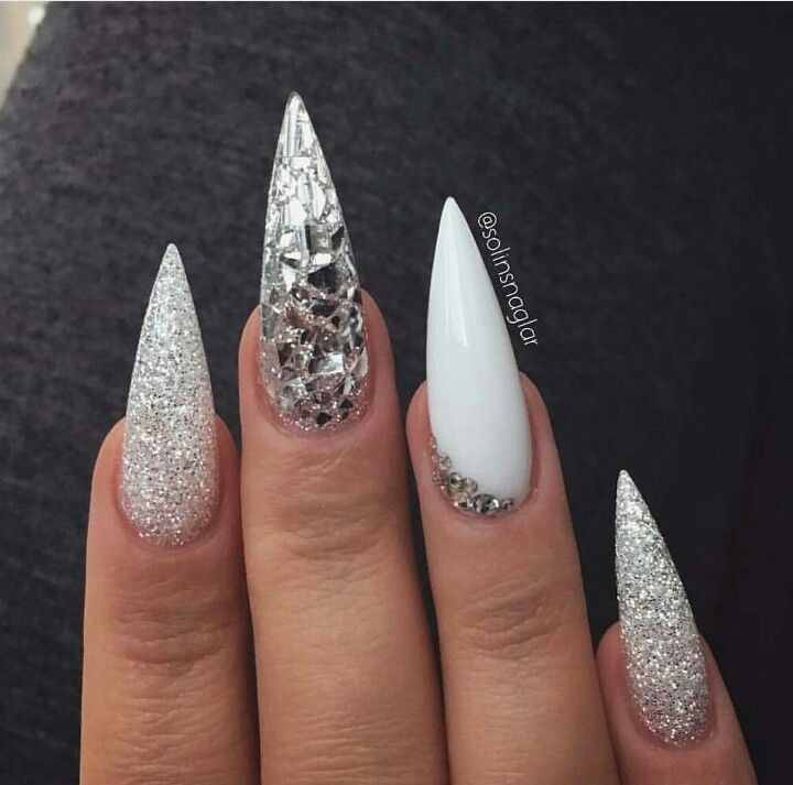 White And Silver Long Stilettos With Images Stiletto Nails
