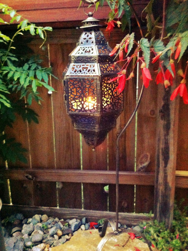Large Hanging Punched Moroccan Lantern Outdoor Patio Tiki Torch Candle  Holder #Tealightvotiveorpillarcandleholder