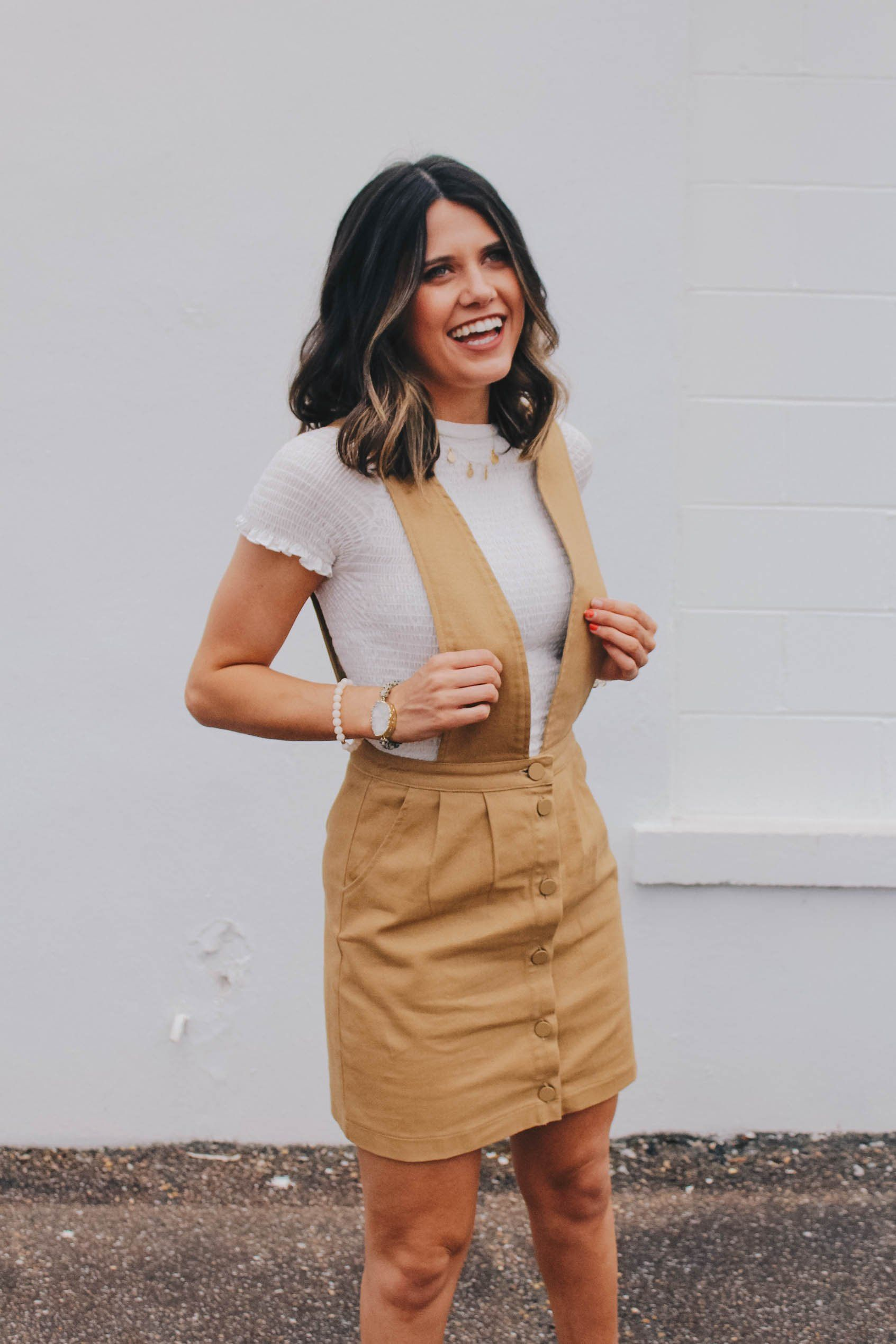 Tan overall dress pinterest large buttons khakis and products