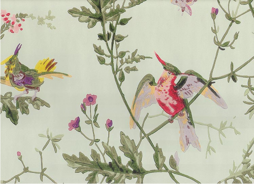 Hummingbirds Wallpaper With Colourful Birds On Branches Printed Pale Green Background