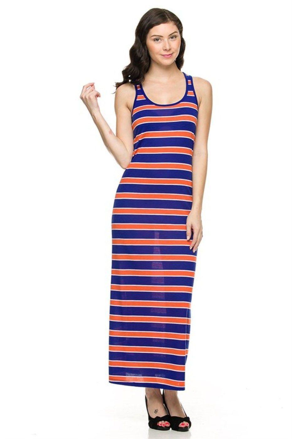 4e151c562a3815 Sleeveless Striped Racerback Maxi Dress Racerback Maxi Dress