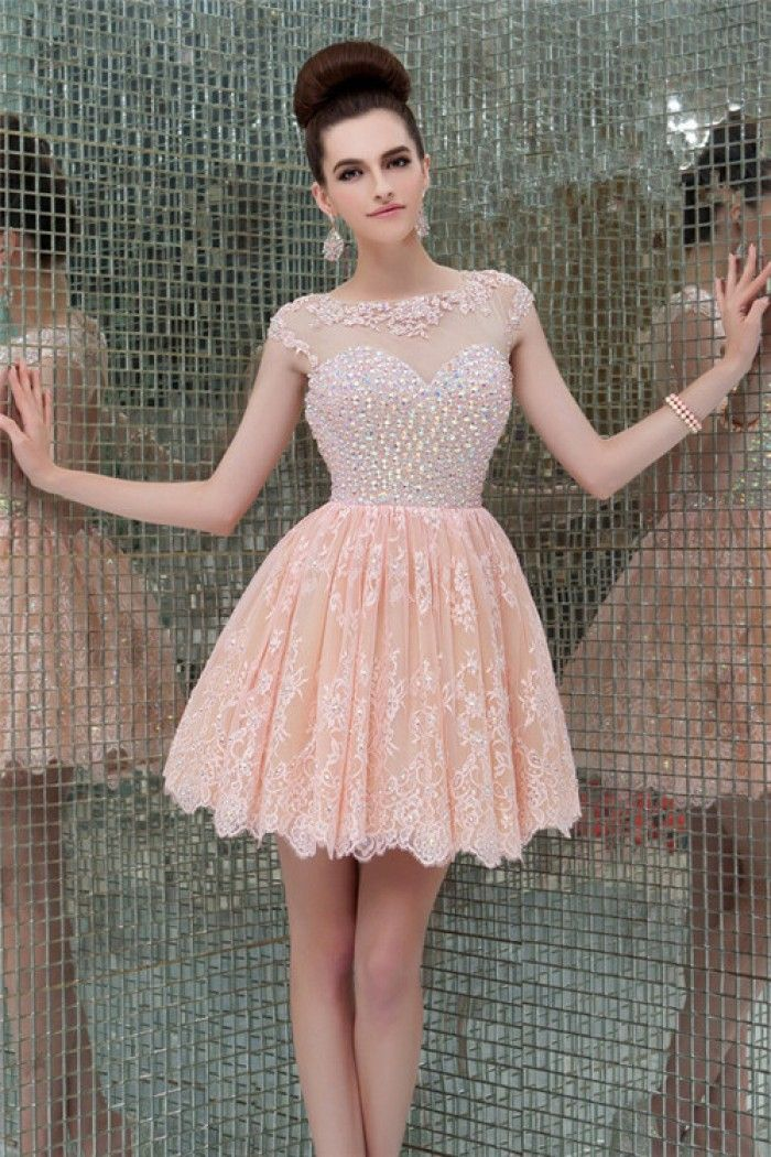 27f598428b8 Illusion-neckline-cap-sleeve-open-back-short-mini-peach-lace-beaded-party-prom-dress original