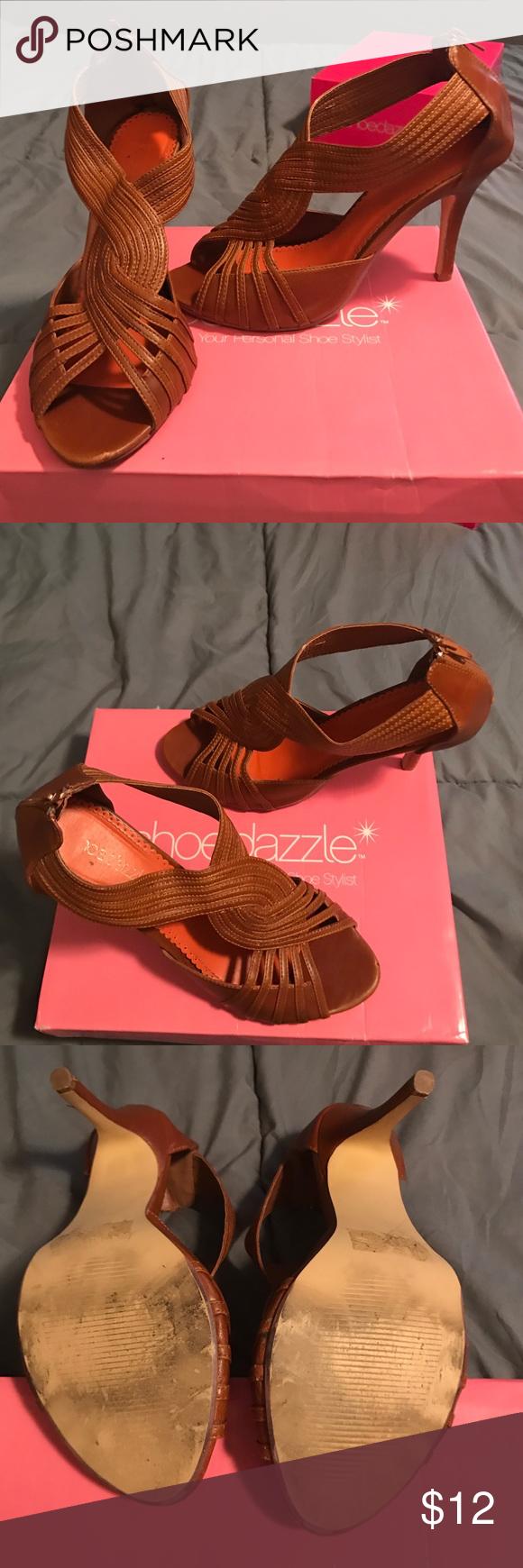 Brown leather open toe heels Brown leather open toe. Zipper on back of heel Shoe Dazzle Shoes Heels