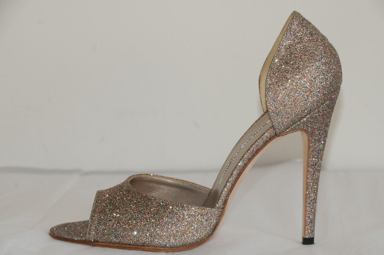 New Manolo Blahnik Astutado Mini Glitter Open Toe Dorsay Shoes