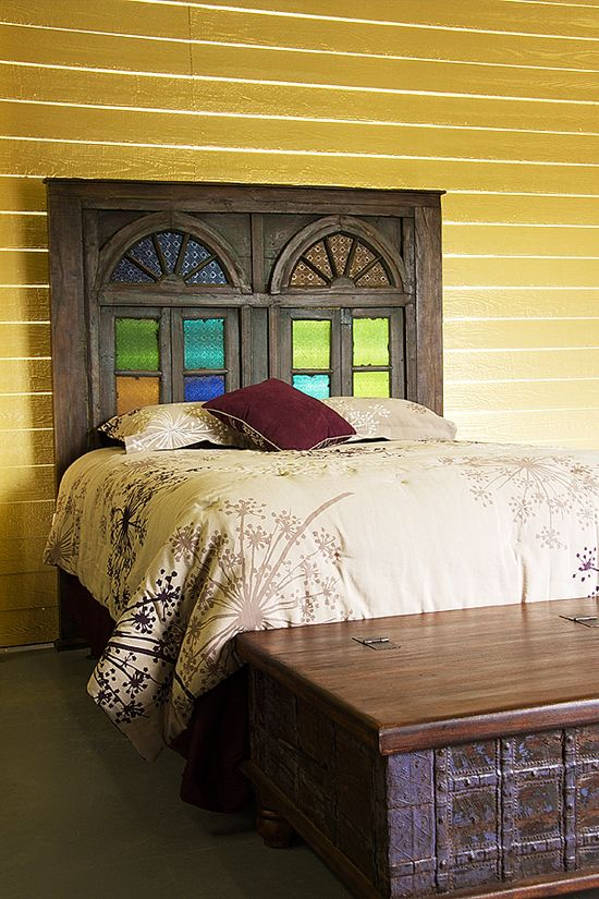 Queen Headboard Created From Reclaimed Cathedral Doors