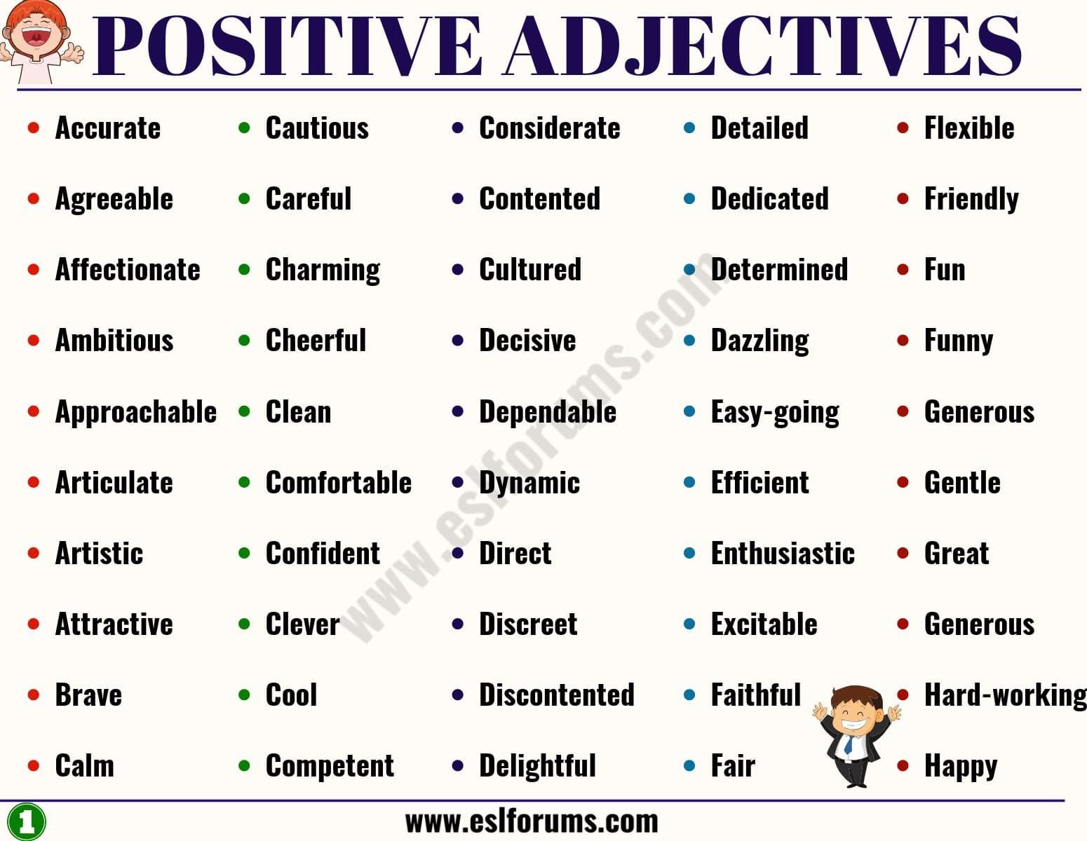 100 Important Positive Adjectives From A Z To Describe A Person Esl Forums Positive Adjectives Words To Describe Someone Describing Words