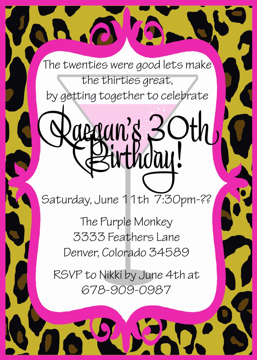 Foxy Leopard 30th Birthday Party Invitation - Customizable and ...