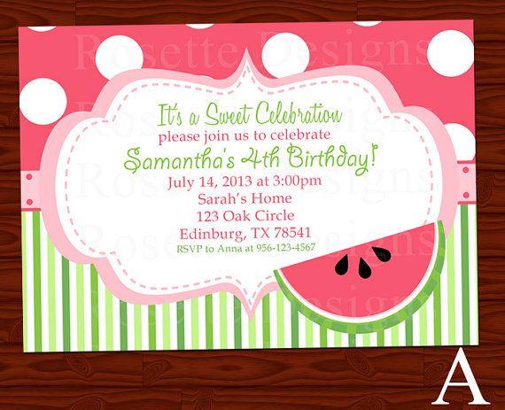 watermelon birthday invitation- new design - digital printable, Birthday invitations