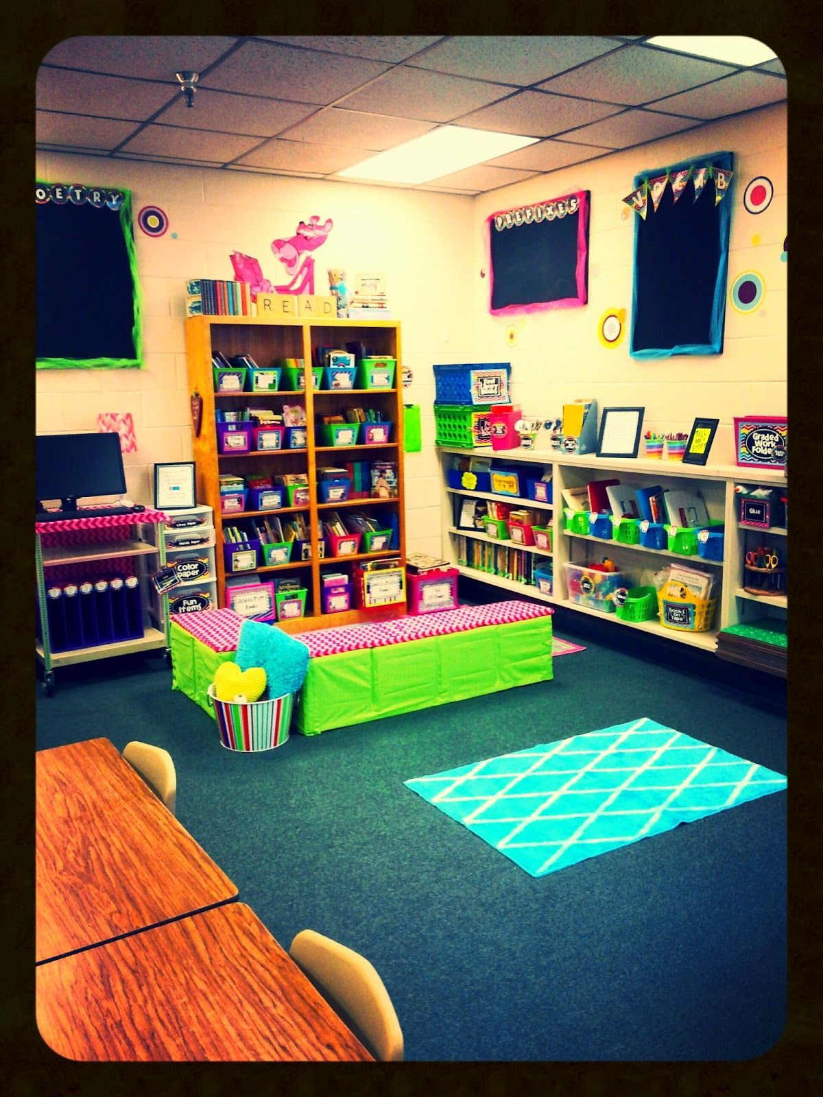 Classroom Window Decoration Ideas ~ Elementary classroom library crate benches teaching