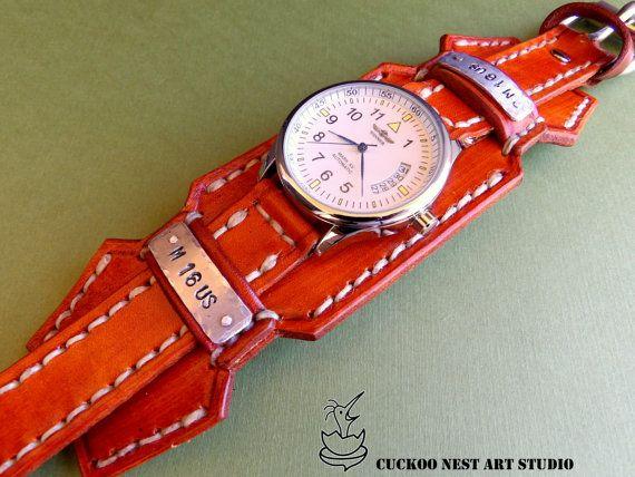 Personalized Leather band Watch cuff by CuckooNestArtStudio