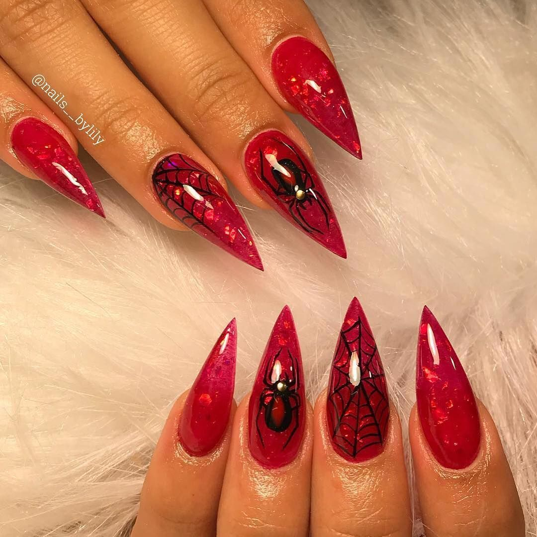 Halloween nails spider web red nails. Pinterest ...