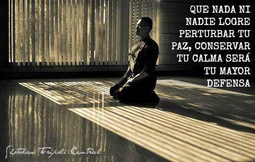 ... Que nada ni nadie logre perturbar tu paz, conservar tu calma será tu mayor defensa.