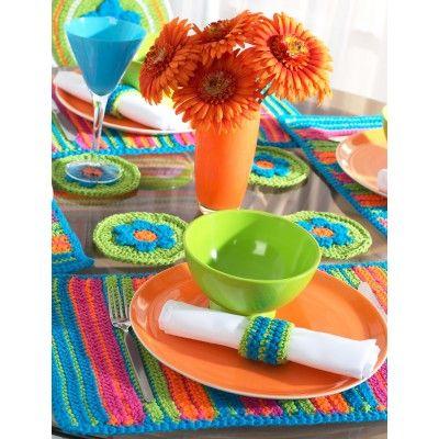 Striped Table Setting Yarnspirations Free Patterns Bernat