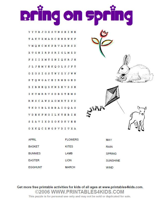 Bring On Spring Wordsearch Printables For Kids Free Word Search Puzzles Coloring Pages