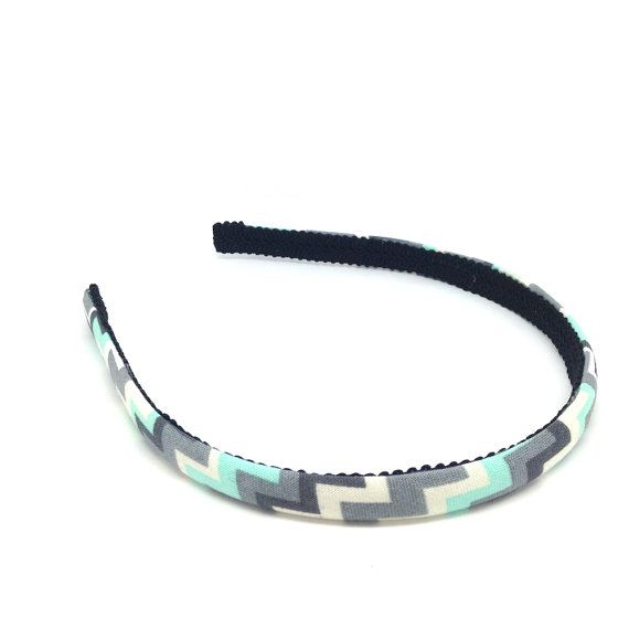 Skinny Chevron Headband  Aqua gray and off-white by BellaHeadbands