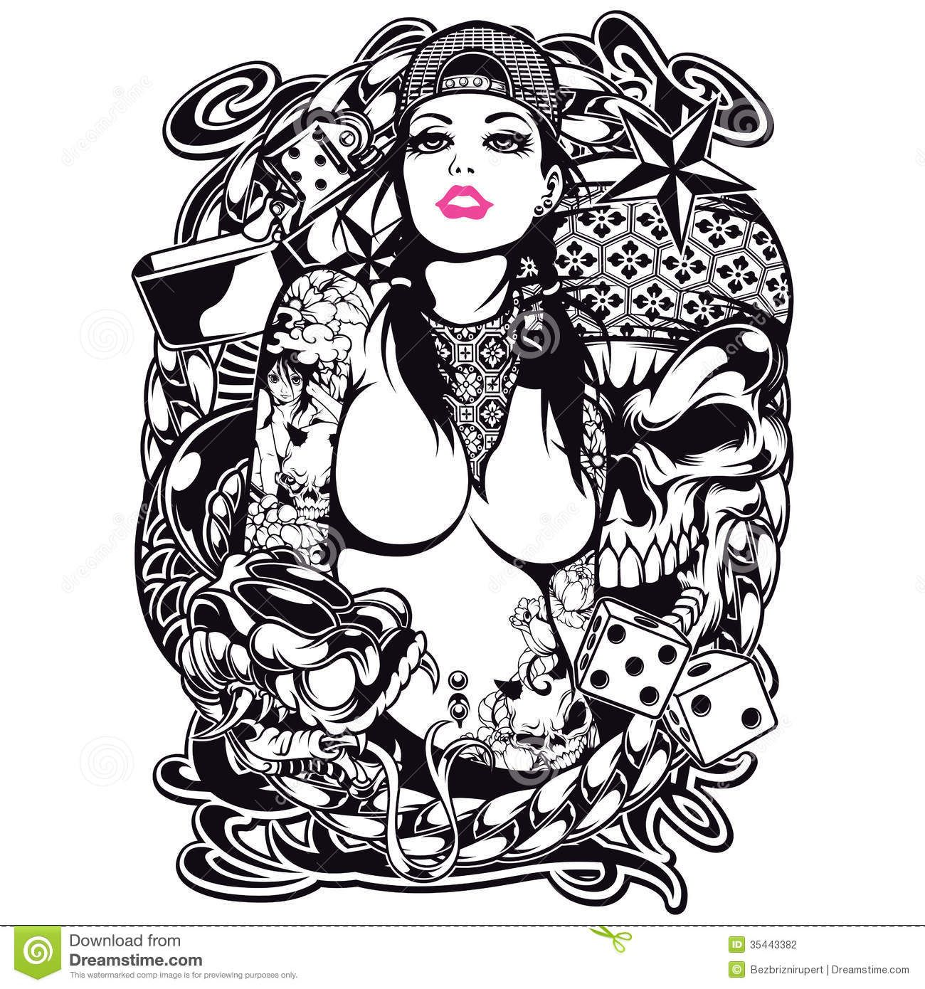 Tribal design t shirt - Image For Tattoo Girl Shirt Design Stock Photography Image 35443382