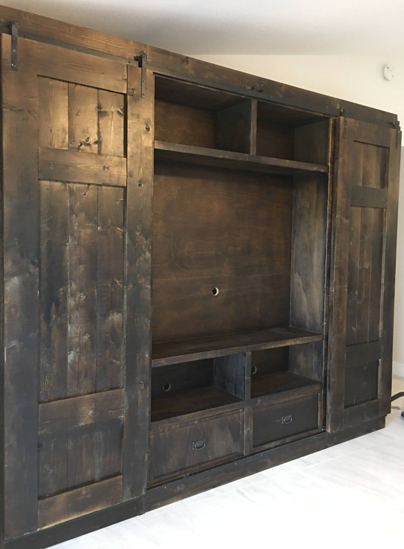 Double Bookcase Barn Door Entertainment Console Etsy In 2020