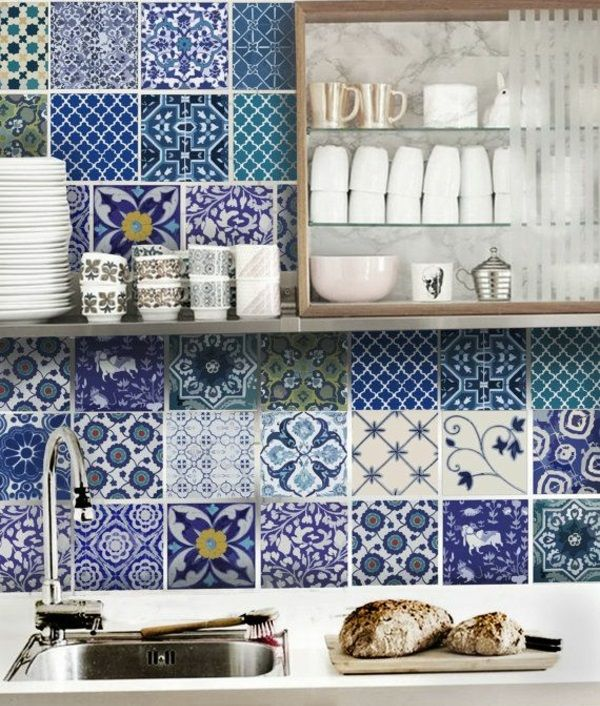 fliesenspiegel rückwand küche muster blau Küchen Pinterest - kuche blaue wande