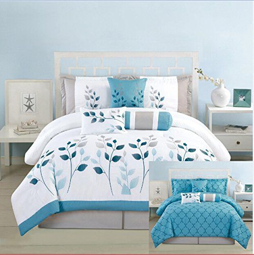 Bed In A Bag Gray And Blue : Pieces luxury reversible turquoise blue white and grey