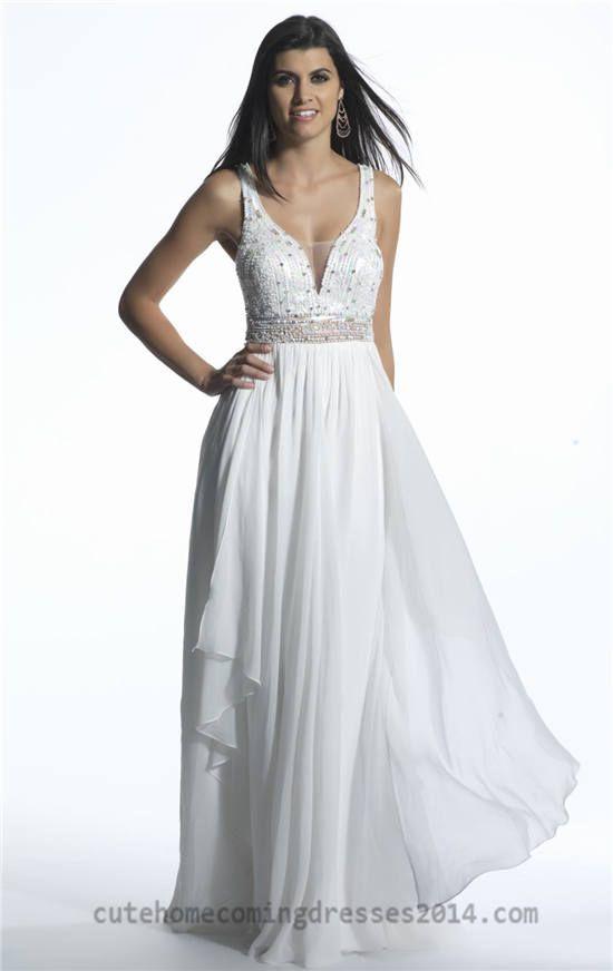 Long White Beaded Dave and Johnny 765 V Neck Prom Dresses | Prom ...