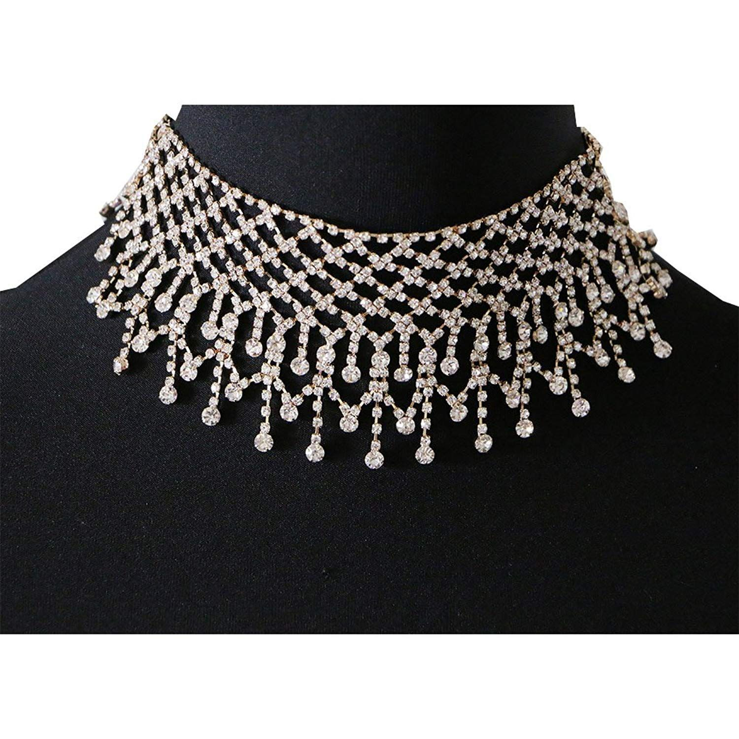 Elegant-Store-A Men and Women Wedding Jewelry Necklace Black Leather Chains Steel Silver Casting Rhinestone Choker Necklace