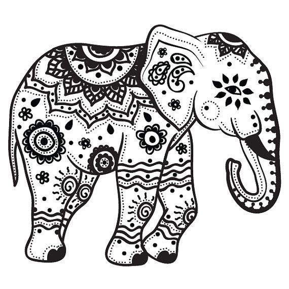 extra large indian elephant temporary by stayathomegypsyshop find this pin and more on free coloring pages - Free Elephant Coloring Pages