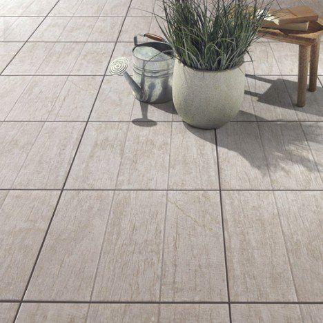 Carrelage blanchi effet bois River l45 x L45 cm terrasse Pinterest