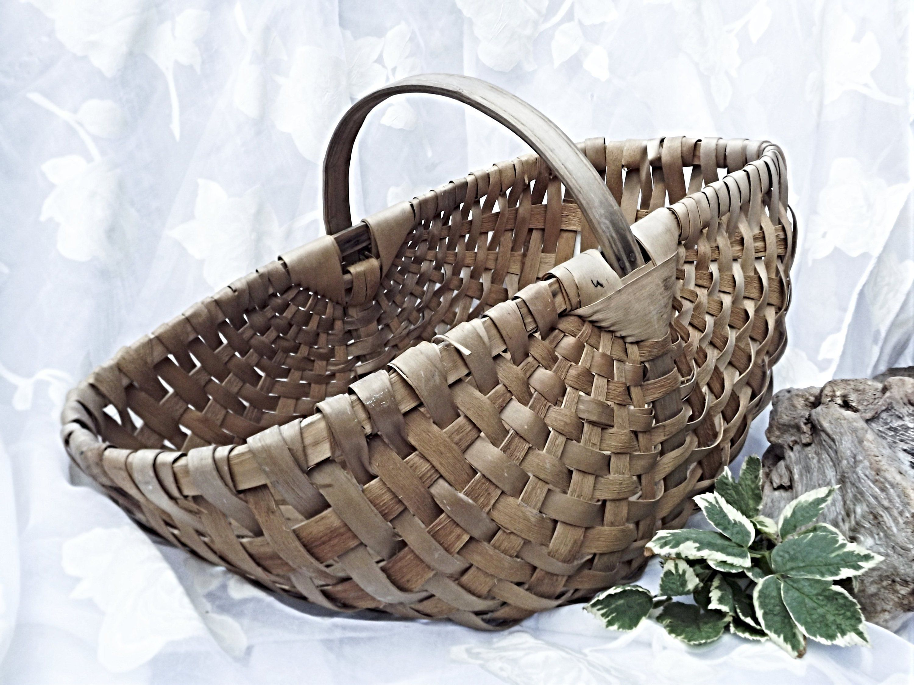 Antique Splint Wood Woven Gathering Basket, French Farmhouse, Large Country Basket, Rustic ...